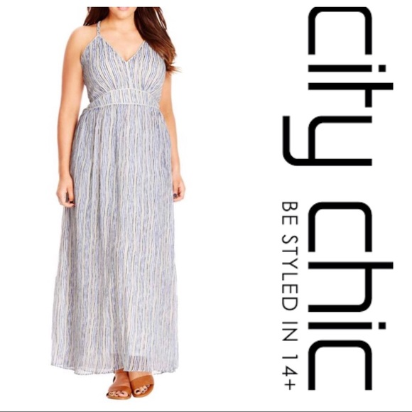 14fb6cda249 City Chic Dresses   Skirts - City Chic Metallic Trim Maxi Dress Size 24